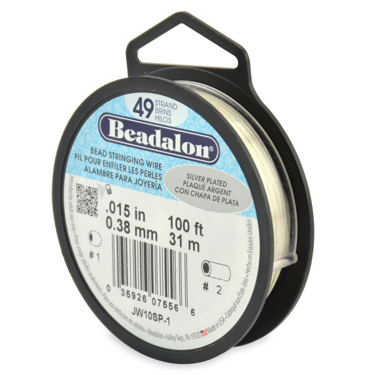 Beadalon 49 strand 0.015 Dia 100 ft - Silver Plated