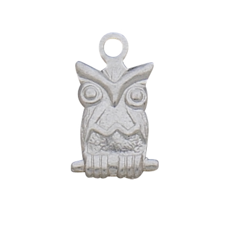 Charm - Large Owl - Sterling Silver