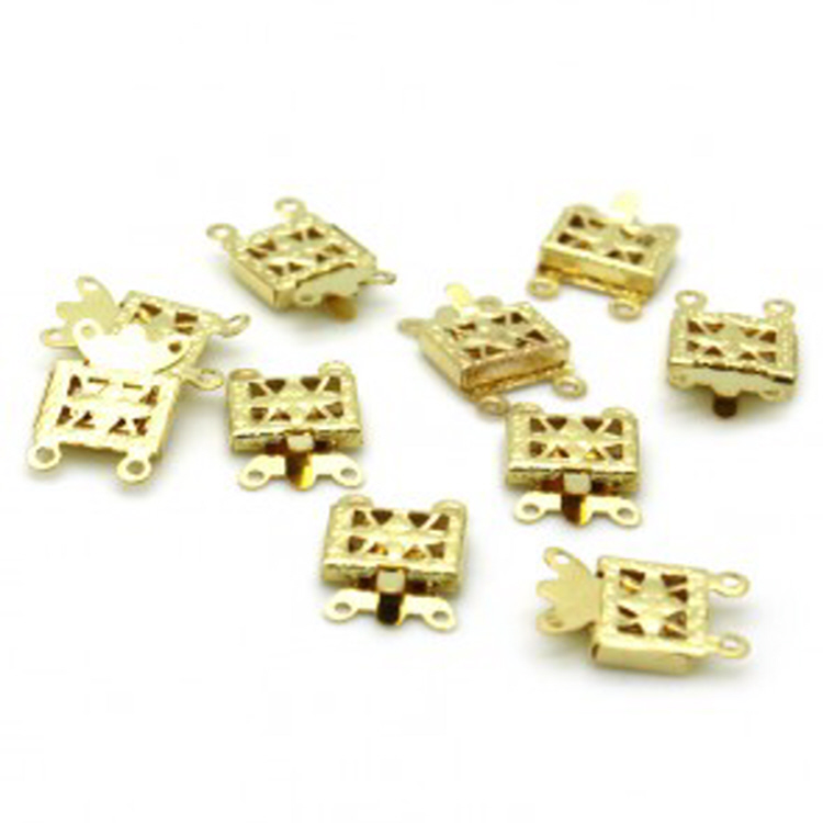 Multistrand Strand Box Clasp (2 Line) - Gold Plated  (72pcs/pkt)